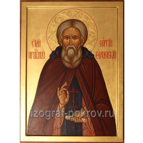 Икона преподобного Сергия Радонежского, игумена, написанной под заказ в иконописной мастерской Покров при храме Покрова Покрова Пресвятой Богородицы