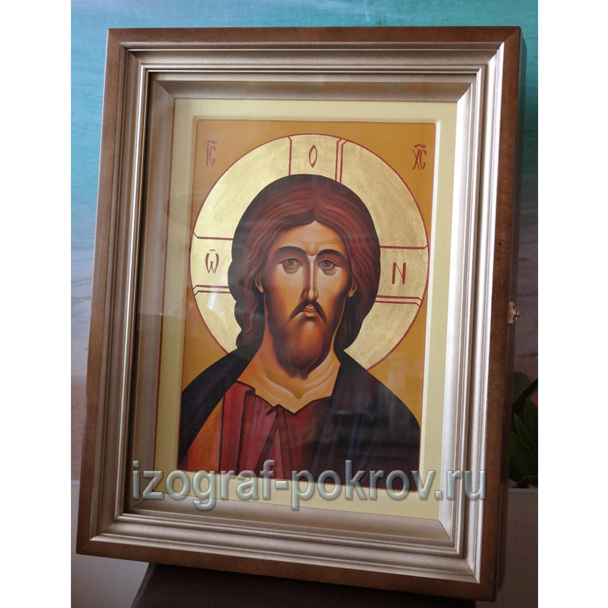 Рукописная икона Спасителя в киоте написана под заказ в иконописной мастерской Покров при храме Покрова Пресвятой Богородицы г. Константиновска