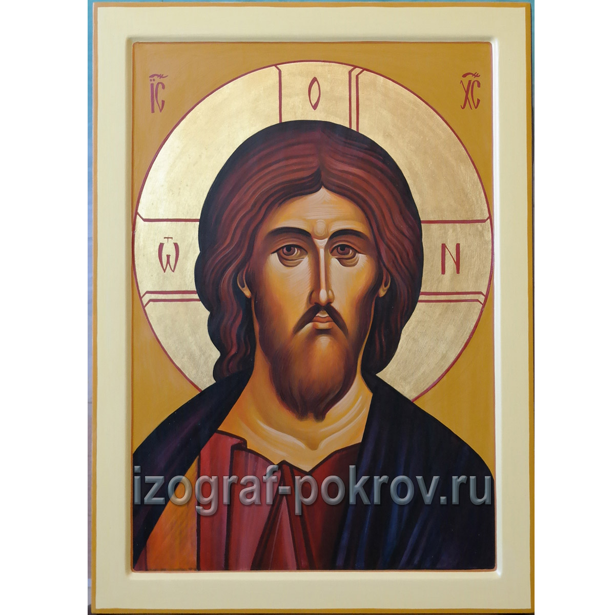 Рукописная икона Спасителя написана под заказ в иконописной мастерской Покров при храме Покрова Пресвятой Богородицы г. Константиновска